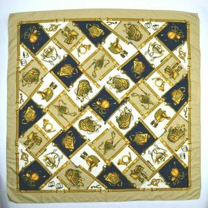 Vintage Equestrian Horse Theme Scarf Gold Tan Navy